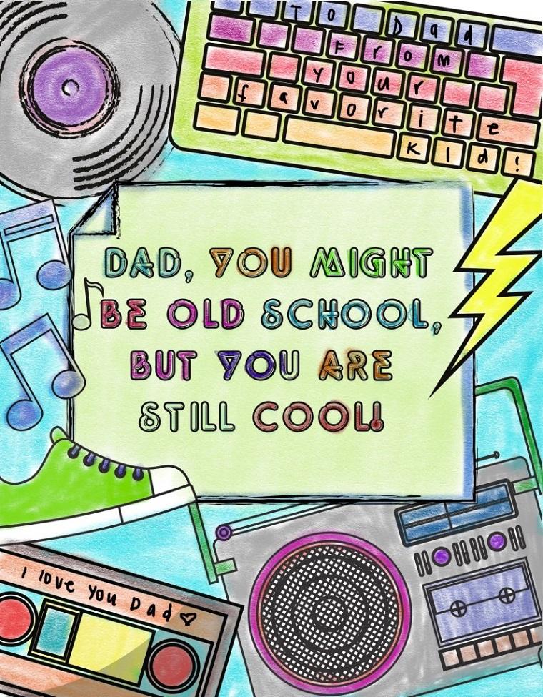 Disegni per la festa del papà, cartolina con disegni e scritta in inglese