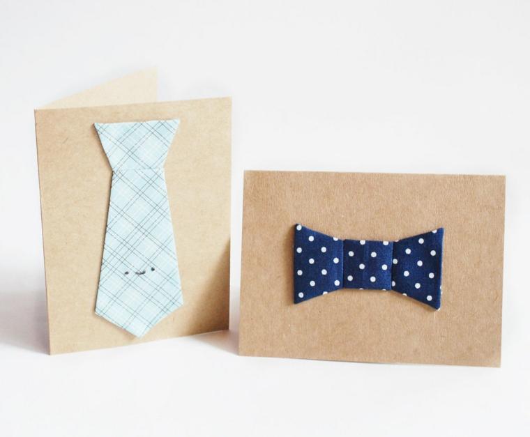Biglietto festa del papà, bigliettino con decorazione cravatta e papillon di carta