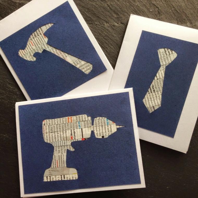 Cartoline per la festa del papà, cartoline con ritagli di fogli di giornale