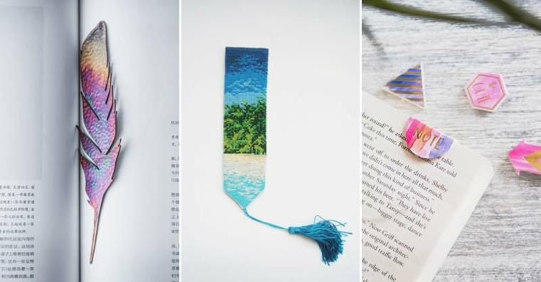 Creare segnalibri, tre segnalibri con cartoncini ritagliati e colorati con matite