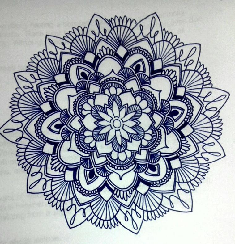 Disegno di un fiore di loto di un cerchio mandala da colorare, disegno da colorare