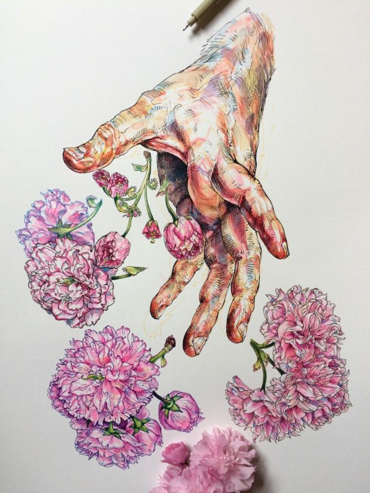 Disegni difficili da disegnare, disegno di una mano che butta dei fiori colorati