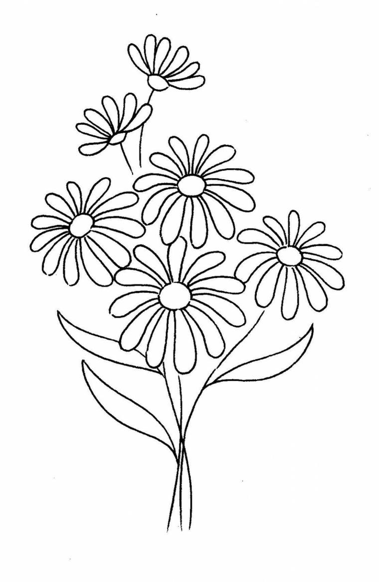 Disegno di fiori da colorare, disegno su foglio bianco da stampare