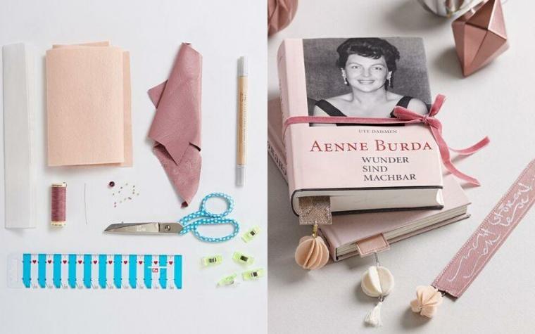 Libro con copertina rigida, segnalibro con nastri e disegni decorati con gioielli