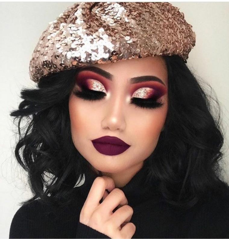 Come truccarsi gli occhi, ragazza con cappello argento lustrini, rossetto dark mat