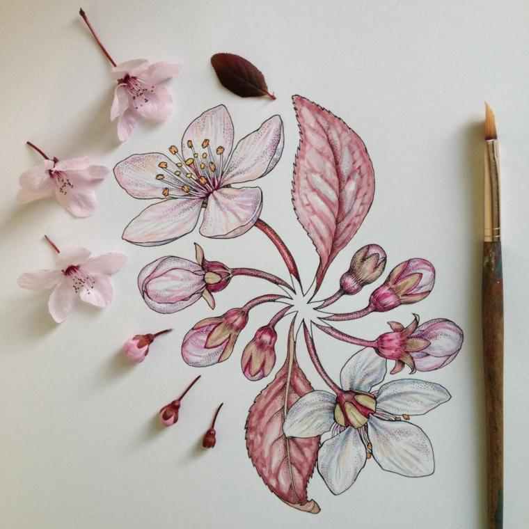 Disegno colorato di un ciliegio fiorito, foglio con pennello, fiore disegno da colorare