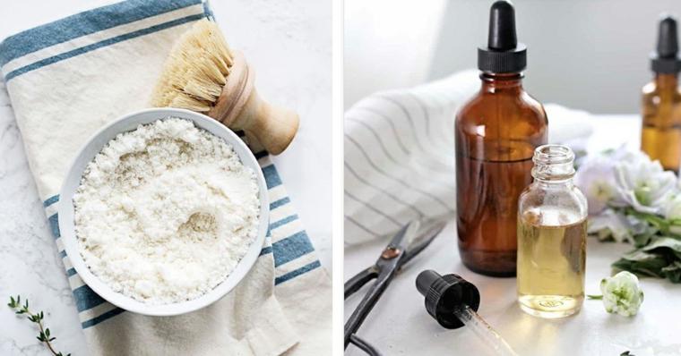Ciotola con polvere di colore bianco, barattolo con olio essenziale, maschera purificante viso