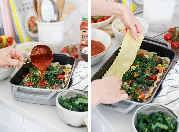 Preparazione della lasagna vegetariana in teglia da forno, primi piatti estivi