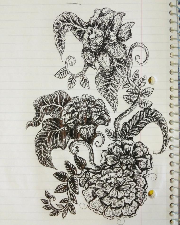 Fiore disegno da colorare, quaderno ad anelli con disegno di fiori con sfumature