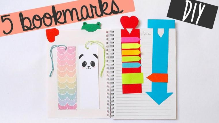 Segnalibro con disegno colorato, segnalibro disegno panda, come fare un segnalibro