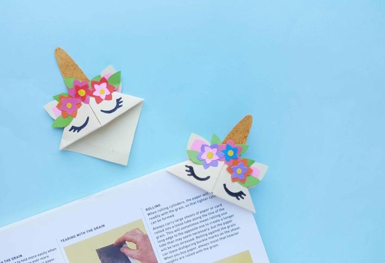 Libro con un segnalibro di origami unicorno, unicorno di carta per origami