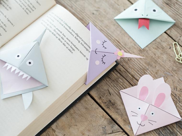 Origami segnalibro design animali, libro con segnalibro design unicorno