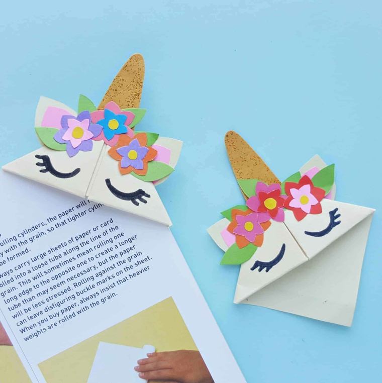 Segnalibri fatti a mano, segnalibro di origami carta design unicorno
