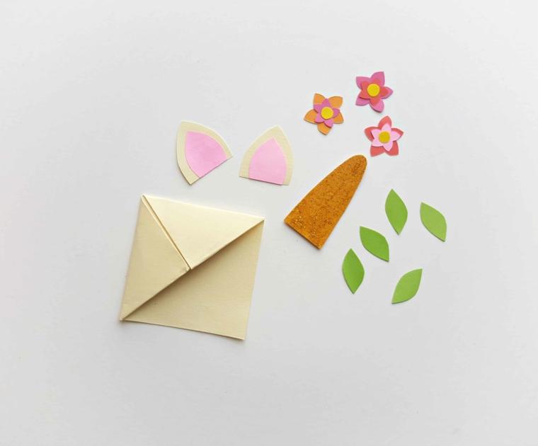 Segnalibri per bambini, unicorno di origami foglio colorato con fiorellini