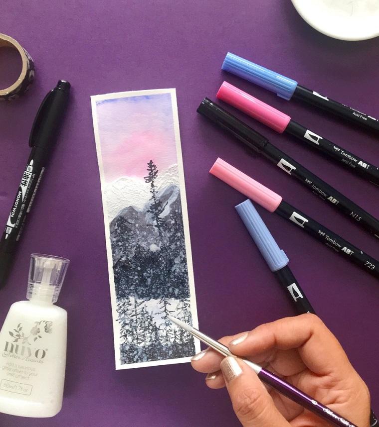 Disegno di un paesaggio foresta, disegnare con un pennello, segnalibro personalizzato