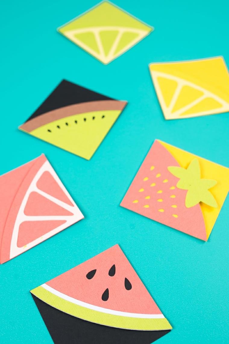 Segnalibro di carta per origami, segnalibro origami con frutta e agrumi disegno