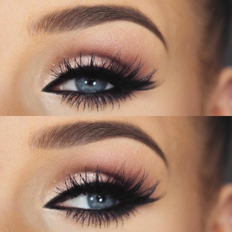 Trucco occhi scuri, foto di un occhio con trucco sfumato e mascara per ciglia