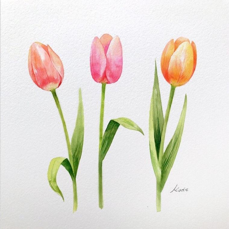 Fiori facili da colorare, disegno colorato a matite di tre tulipani con foglie colorate
