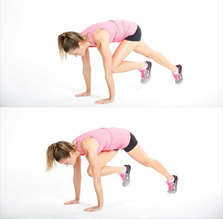 Allenamento gambe a casa, donna che esegue esercizi per le gambe sul tappetino