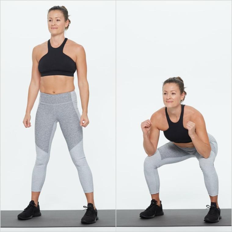 Donna che esegue la posizione di squat, allenamento completo a casa