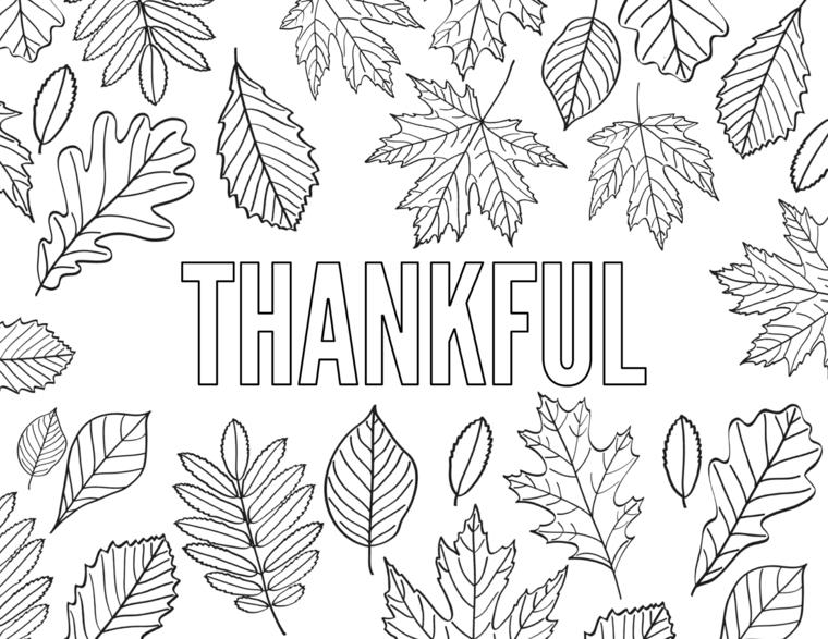 Disegni autunno da colorare, scritta thankfull in inglese da colorare