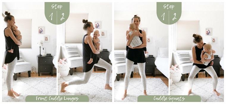 Allenamento gambe a casa, donna che si allena sul tappeto con bambino in braccio