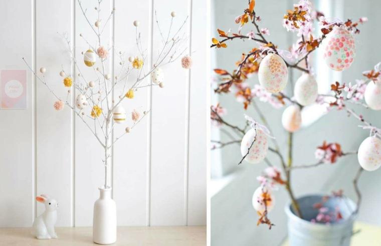 Foto collage di un vaso con albero pasquale, immagini di buona Pasqua gratis