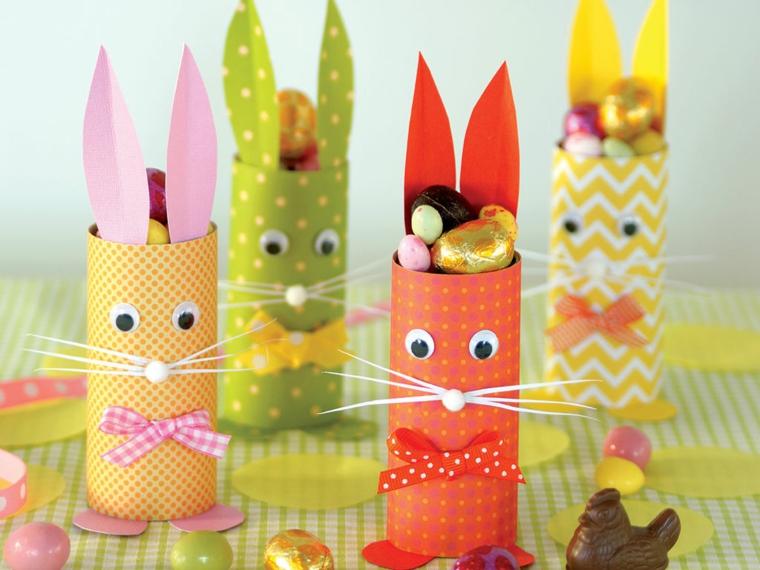 Decorazioni pasquali con coniglietti e ovetti, lavoretti con la carta facilissimi