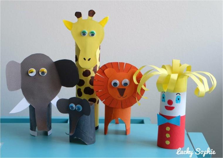 Lavoretti per bambini con la carta, animali con cartoncini colorati