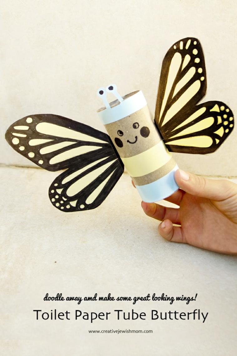 Come costruire oggetti di carta, rotolo di carta igienica a forma di farfalla con ali