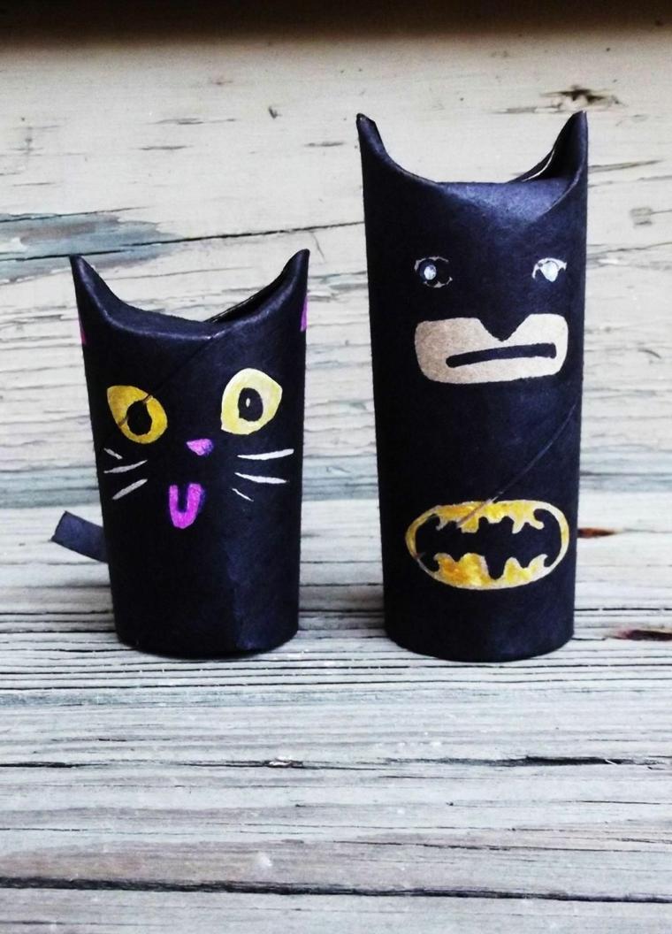 Come costruire oggetti di carta, gatto e batman con rotoli di carta igienica dipinti