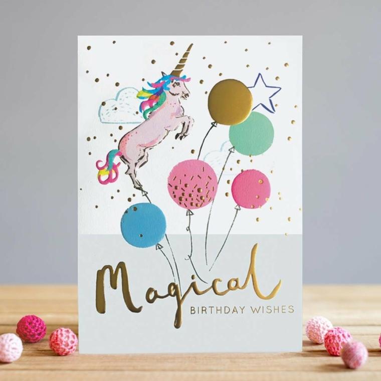 Immagini di buon compleanno, cartolina con disegno di unicorno e palloncini