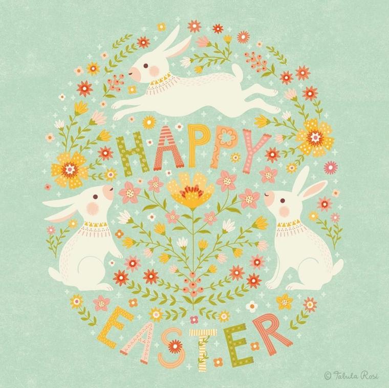 Buona Pasqua immagini belle, disegno di fiori e tre coniglietti si sfondo blu
