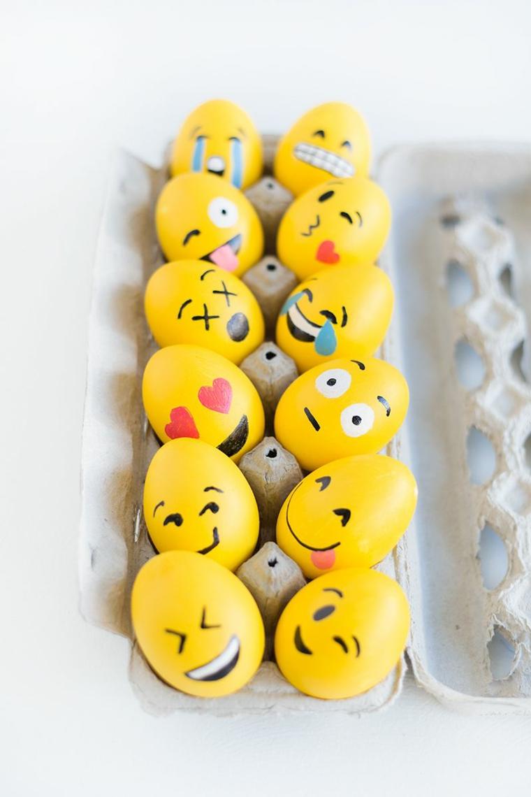 Buona Pasqua 2020 immagini, foto di uova pasquali colorate di giallo con faccine