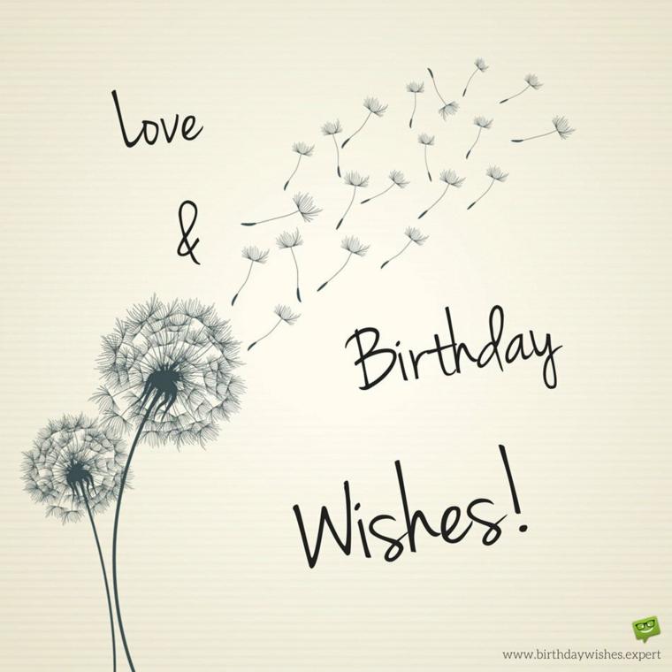 Cartoline di buon compleanno, disegno di un fiore e scritta Happy Birthday in inglese