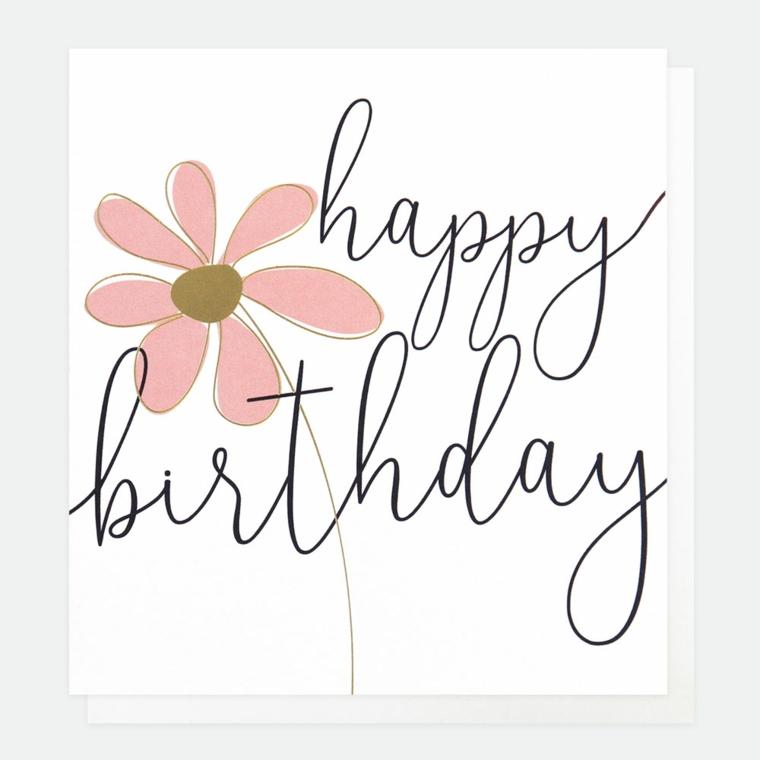Cartoline di buon compleanno, bigliettino bianco con disegno di fiore e scritta in inglese