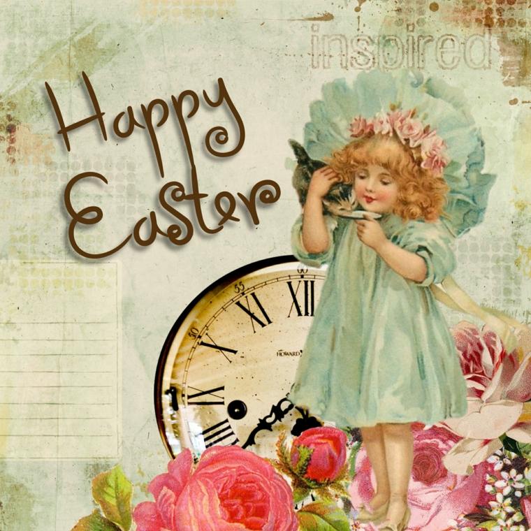 Auguri di buona Pasqua immagini, foto vintage con disegno di una bimba e scritta