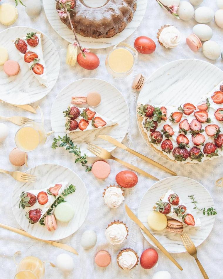 Buona Pasqua immagini belle, foto di una tavola apparecchiata con dolci
