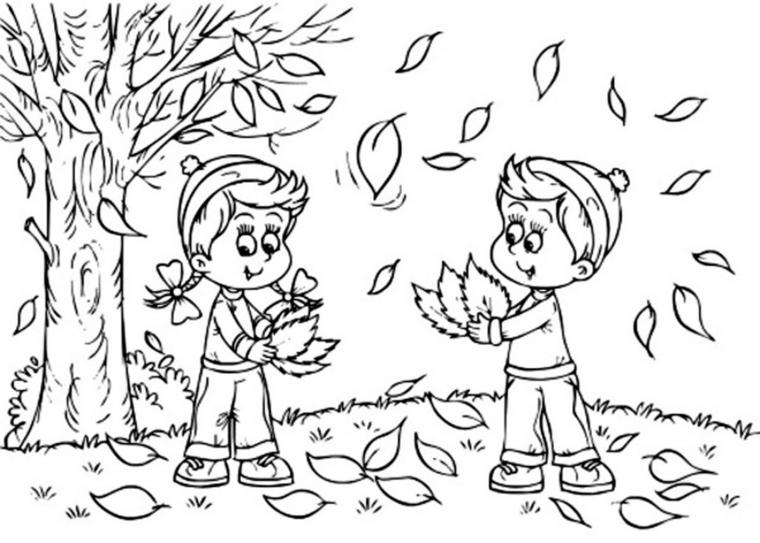 Disegni autunno da colorare, disegno di due bambini che giocano con le foglie