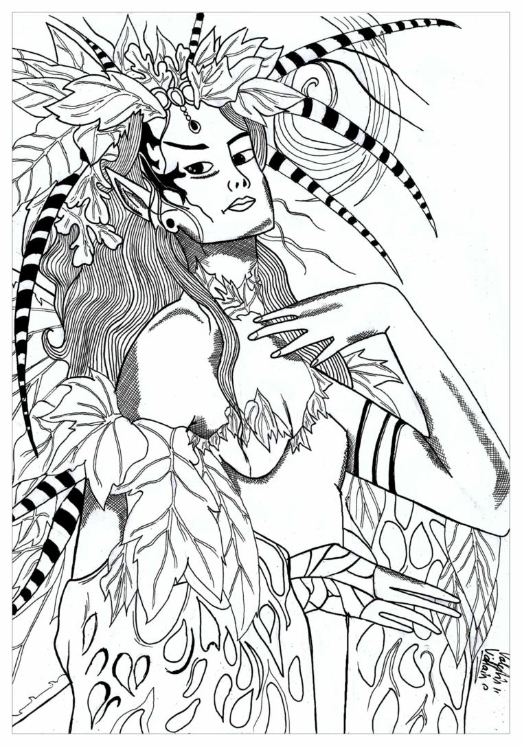 Disegni sull'autunno da colorare e stampare, disegno ragazza con foglie