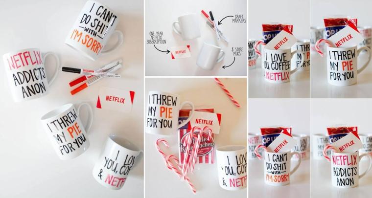 Idee regalo fidanzato, tazze bianche di porcellana con scritte con pennarello