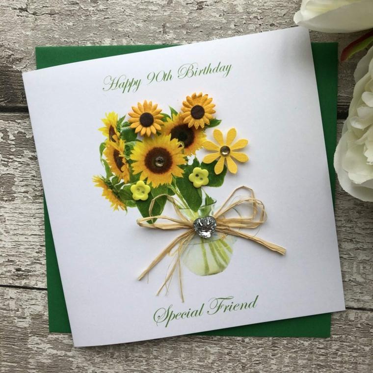 Cartoline di buon compleanno, biglietto con disegno di girasole in un vaso
