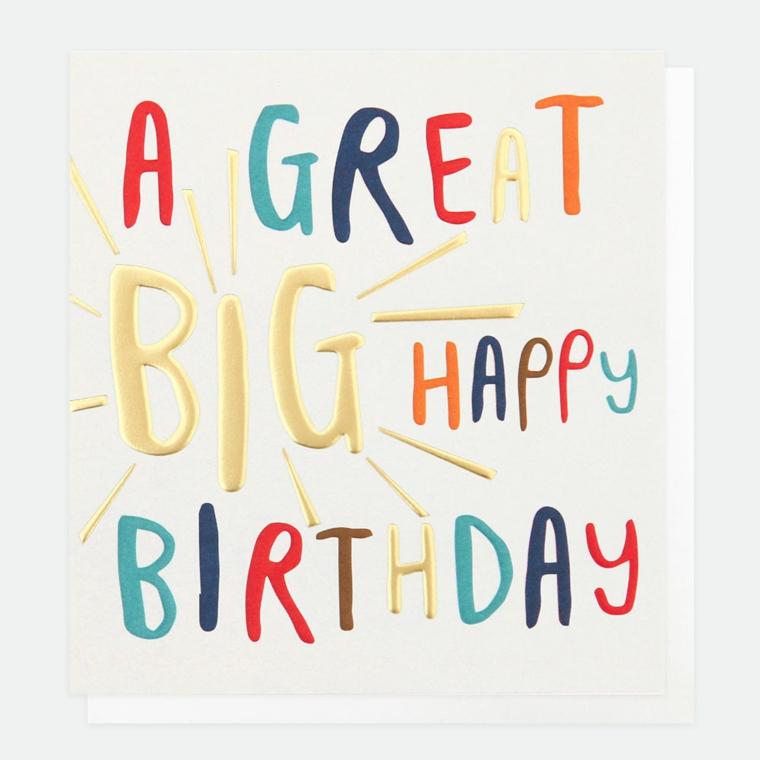 Cartoline di buon compleanno, bigliettino con scritta lettere colorate stampatello