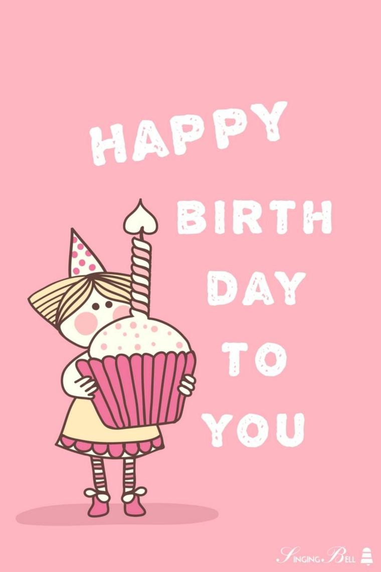 Auguri di compleanno simpatici, foto con sfondo di colore rosa con scritta e disegno cupcake