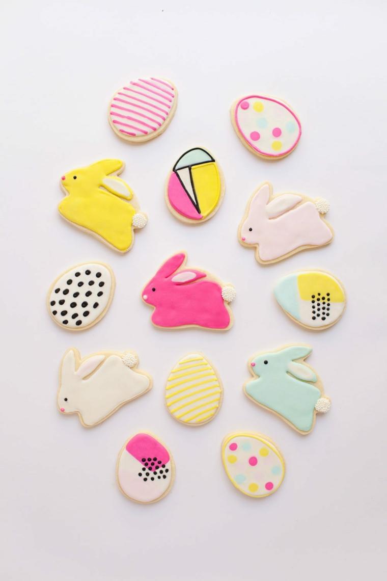 Buona Pasqua immagini belle, foto di biscotti decorati a forma di uova e conigli