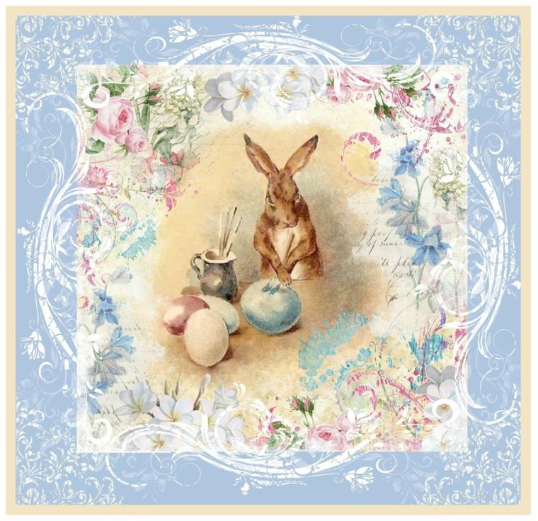 Foto vintage con disegno di ovetti pasquali e coniglio, immagini di buona Pasqua gratis
