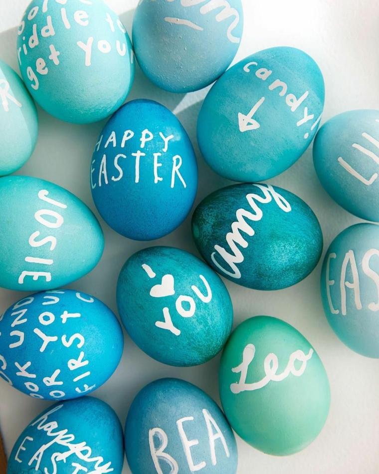 Frasi auguri di Pasqua simpatici, foto con uova pasquali colorate e decorate con scritte