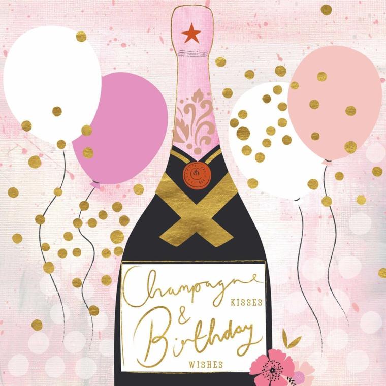 Biglietti di auguri di buon compleanno, disegno bottiglia di champagne con palloncini