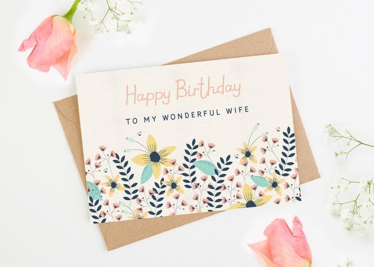 Biglietti di auguri di buon compleanno, cartolina con scritta in inglese e disegni di fiori