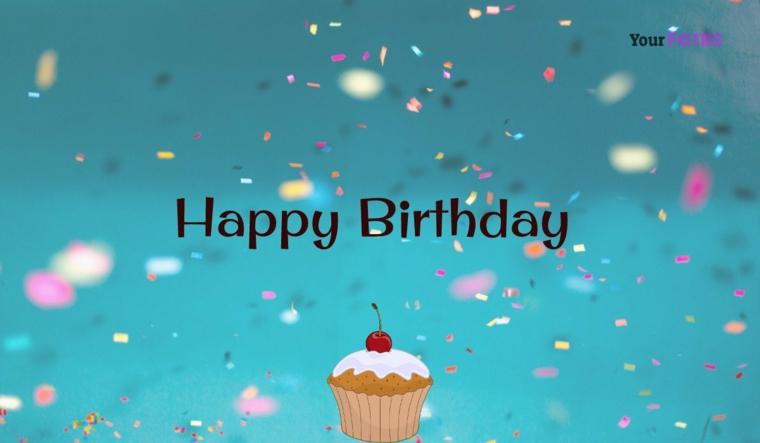 Auguri di buon compleanno originali, immagine con disegno cupcake e sfondo blu